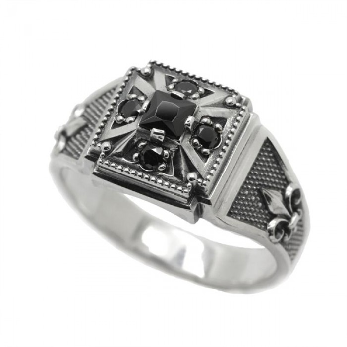 """Ring """"Cross and Lilies"""""""