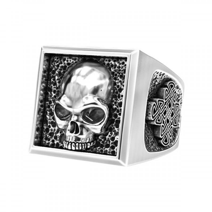 "Ring ""Skull Mens Signet With Celtic Patterns"""