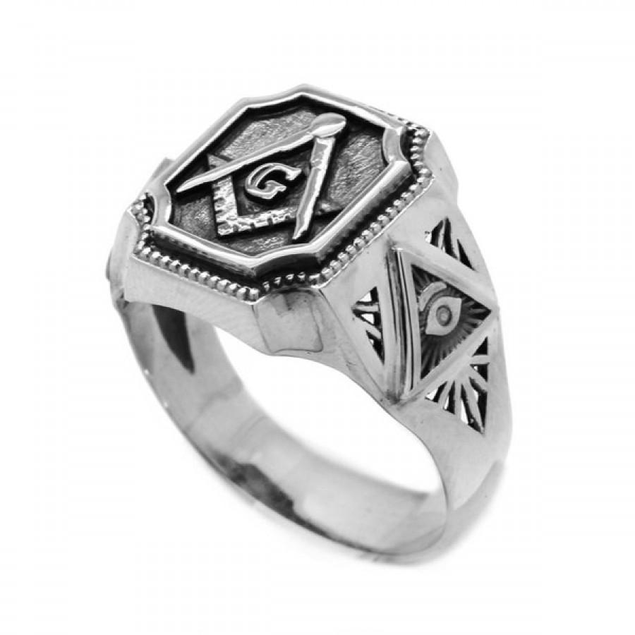 "Ring ""Freemasonry Square and Compass"""