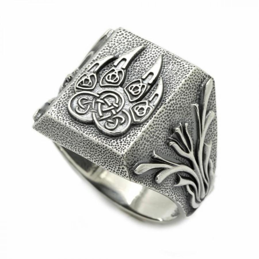 Viking Wolf Paw Mens Ring