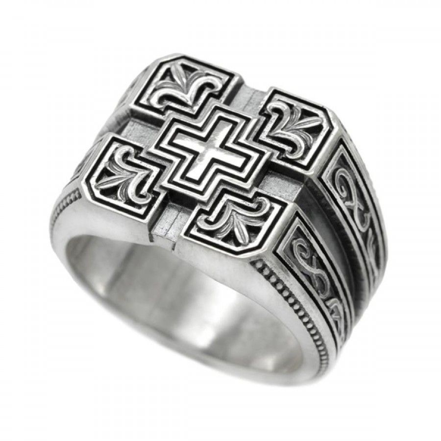 """Ring """"Cross and four Lilies"""""""