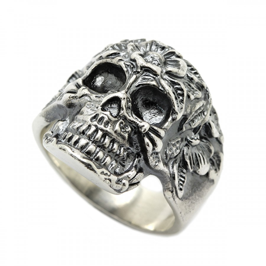 """Ring """"Skull with flowers"""""""